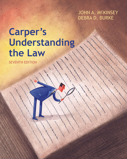 Product cover for Carper's Understanding the Law 7th Edition by John A. McKinsey/Debra Burke