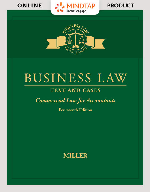 Product cover for MindTap for Business Law: Text & Cases - Commercial Law for Accountants 14th Edition by Roger Miller