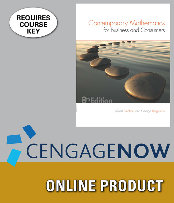 ???label.coverImageAlt??? CengageNOW for Contemporary Mathematics for Business & Consumers 8th Edition by Robert Brechner