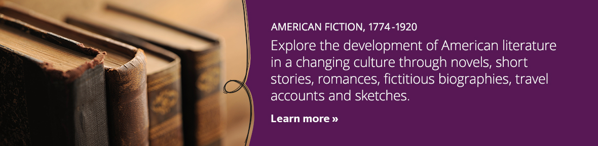 Explore the development of American literature in a changing culture through novels, short stories, romances, fictitious biographies, travel accounts and sketches.